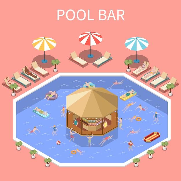 Waterpark aquapark isometrische samenstelling met tekst en open zwembadlandschapsmensen en overdekte dekbar Gratis Vector