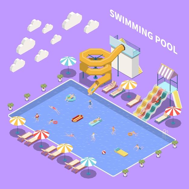 Waterpark aquapark isometrische samenstelling met uitzicht op open zwembad met parasols, ligstoelen en waterglijbanen Gratis Vector