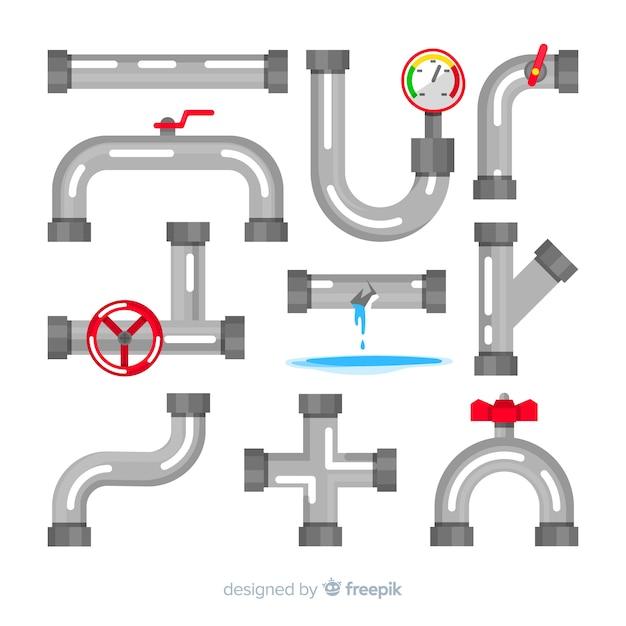 Waterpijpenverzameling in plat ontwerp Gratis Vector