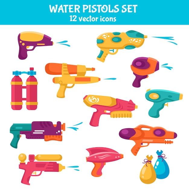Waterpistolen set Gratis Vector