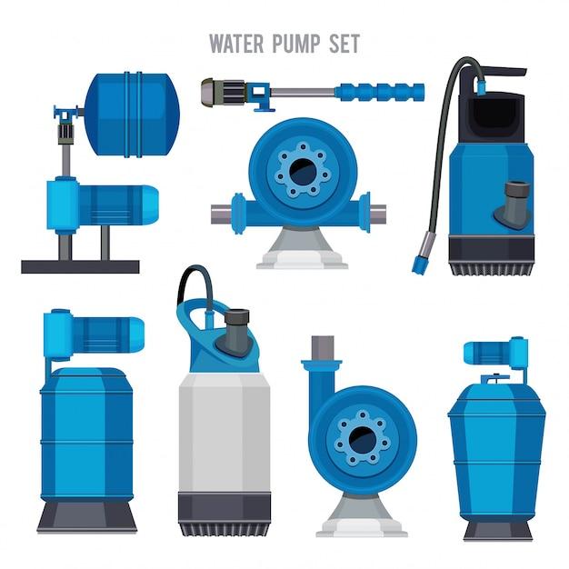 Waterpompsysteem. aqua behandeling elektronische stalen compressor landbouw riolering station pictogrammen instellen Premium Vector