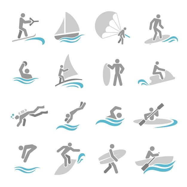 Watersport icons set Premium Vector