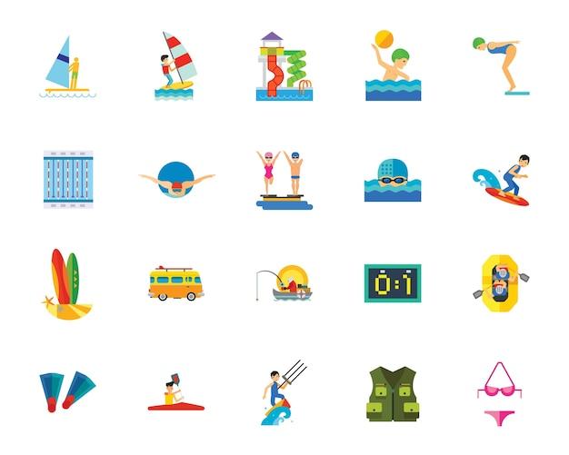 Watersport pictogramserie Gratis Vector
