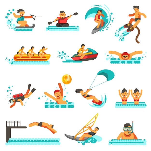 Watersport zomer activiteiten plat pictogrammen instellen Premium Vector