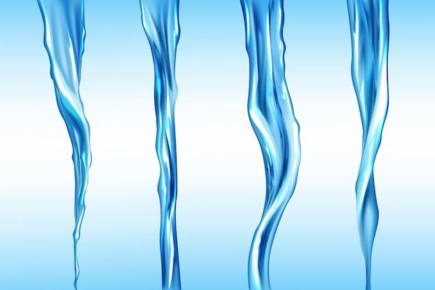 Waterstromen ingesteld, geïsoleerde stroombeweging van vloeistof Gratis Vector