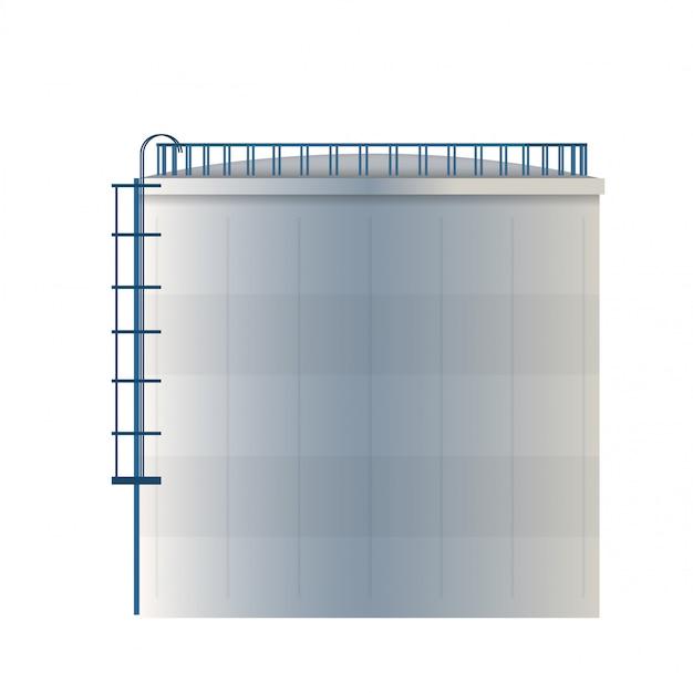 Watertank, opslagreservoir voor ruwe olie, cilinder. Premium Vector