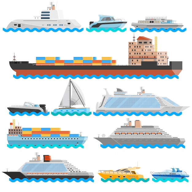 Watertransport flat decoratieve icons set Gratis Vector
