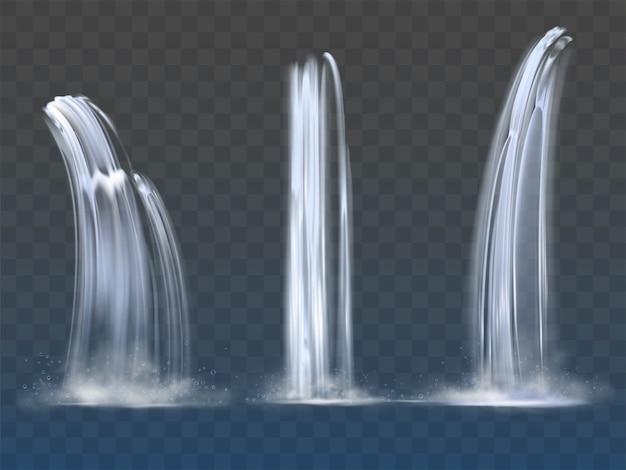Waterval cascade realistische waterval stromen ingesteld Gratis Vector