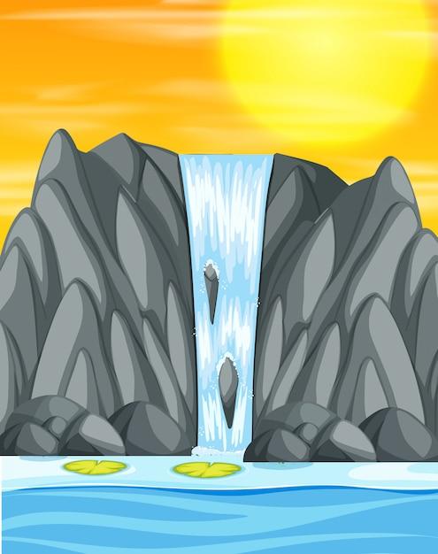 Waterval zonsondergang illustratie scène Gratis Vector