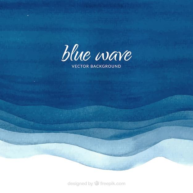 Waterverf achtergrond met blauwe golven Gratis Vector