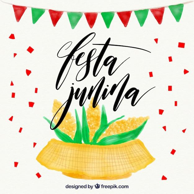 Waterverf achtergrond met maïskolven van festa junina Gratis Vector