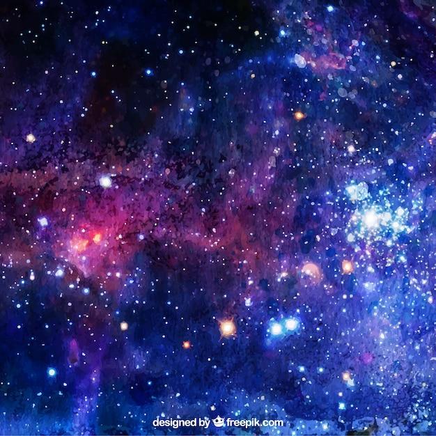 Waterverf achtergrond met sterren Gratis Vector