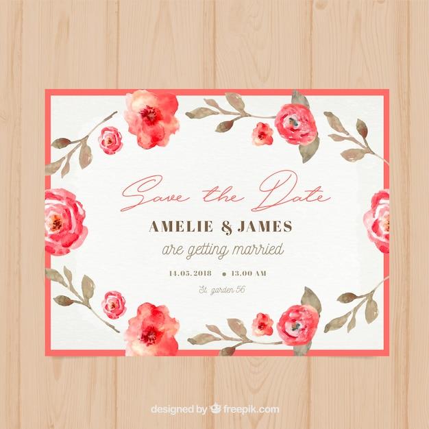Waterverf bloemen bruiloft kaart Gratis Vector
