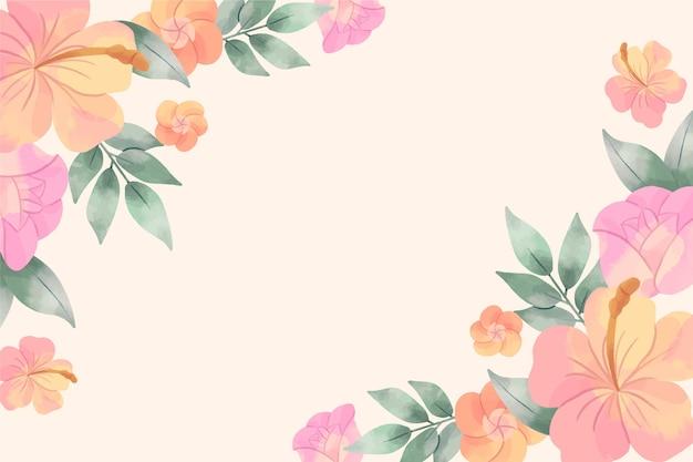 Waterverf bloemenbehang in pastelkleuren Gratis Vector