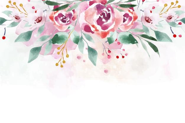 Waterverf bloemenbehang in zachte kleuren Gratis Vector
