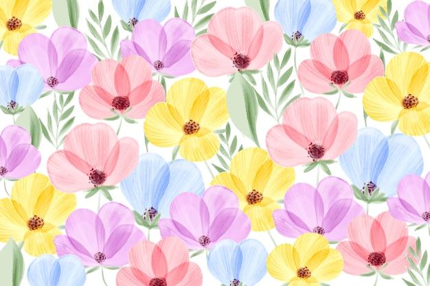 Waterverf bloemenbehang met pastelkleuren Gratis Vector