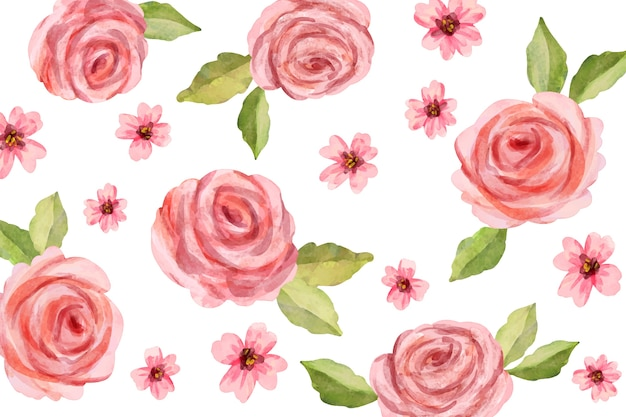 Waterverf bloemenbehang met zachte kleuren Gratis Vector