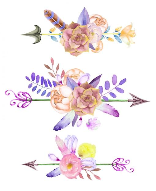 Waterverf bloemenboeketten met pijlen Premium Vector