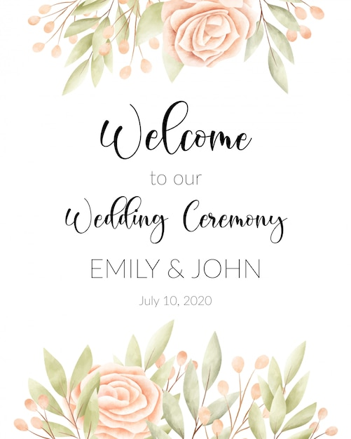 Waterverf bloemenframe, huwelijkskaart. Gratis Vector