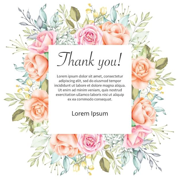 Waterverf bloemenhuwelijk dank u kaardt lijst Premium Vector