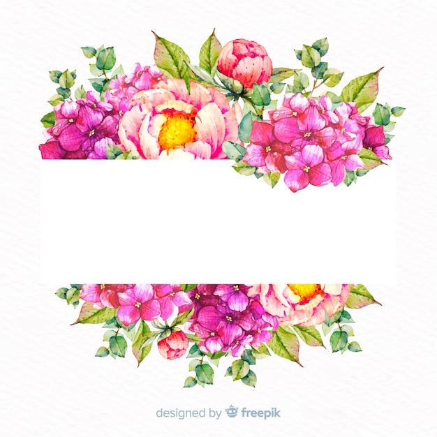 Waterverf bloemenkader met lege banner Gratis Vector