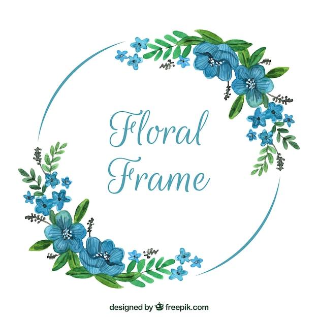 Waterverf bloemenkader met mooi ontwerp Gratis Vector
