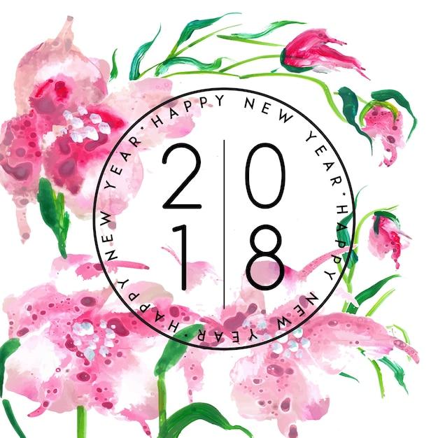 Waterverf bloemennieuwjaar 2018 Premium Vector