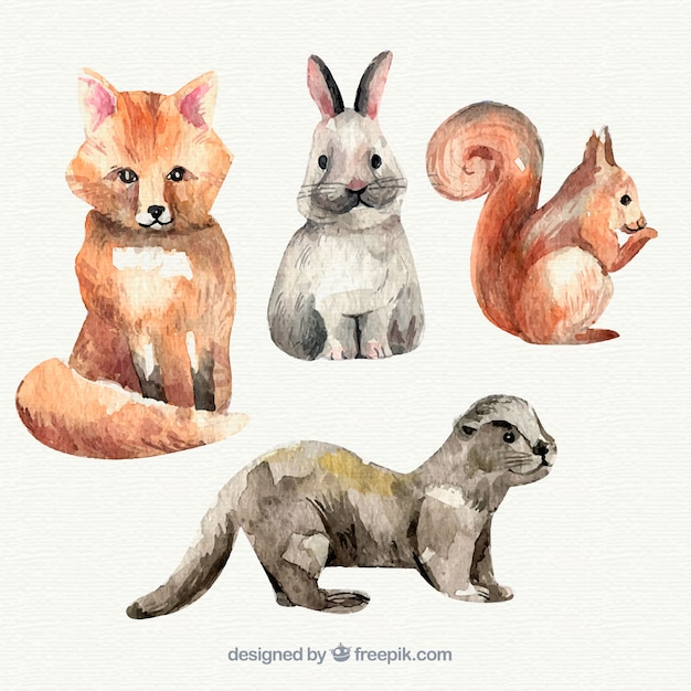 Waterverf collectie van kleine dieren Gratis Vector