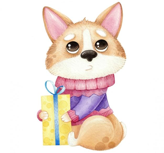 Waterverf cute dog corgi met cadeau geïsoleerd op wit Premium Vector