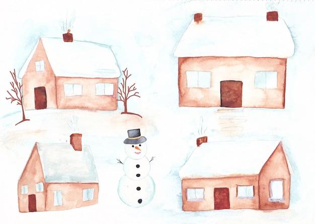 Waterverf de winterhuizen met sneeuw op het dak en de sneeuwman Premium Vector