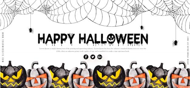 Sjabloon Halloween.Waterverf Halloween Banner Sjabloon Vector Premium Download