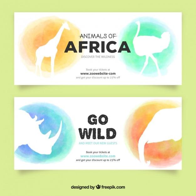 Waterverf het afrikaanse dieren banners Premium Vector