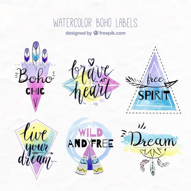 Waterverf het boho stickers met inspirerende boodschappen Gratis Vector