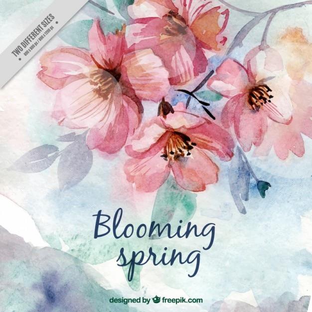 Waterverf het leuke lentebloemen Premium Vector