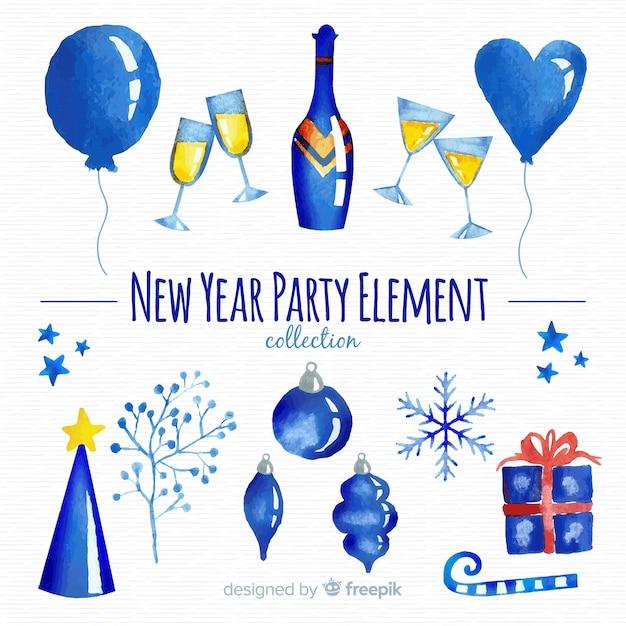 Waterverf het nieuwe feestelement van het jaar Gratis Vector