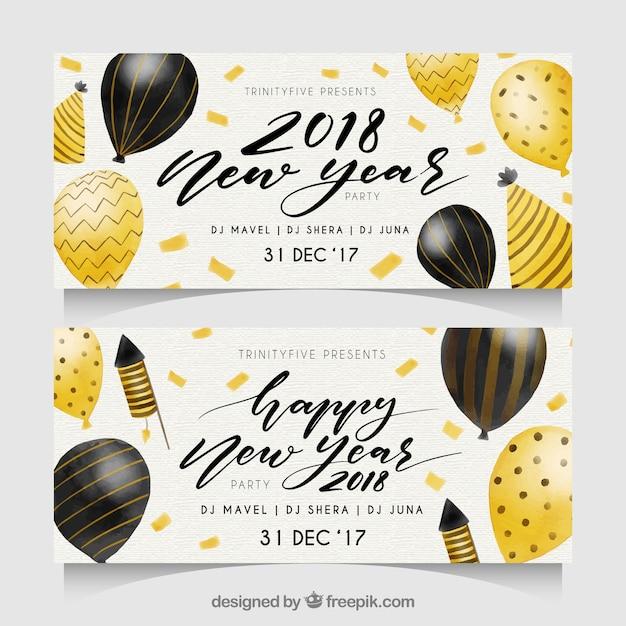 Waterverf het nieuwe jaar 2018 partijbanners met ballons Gratis Vector