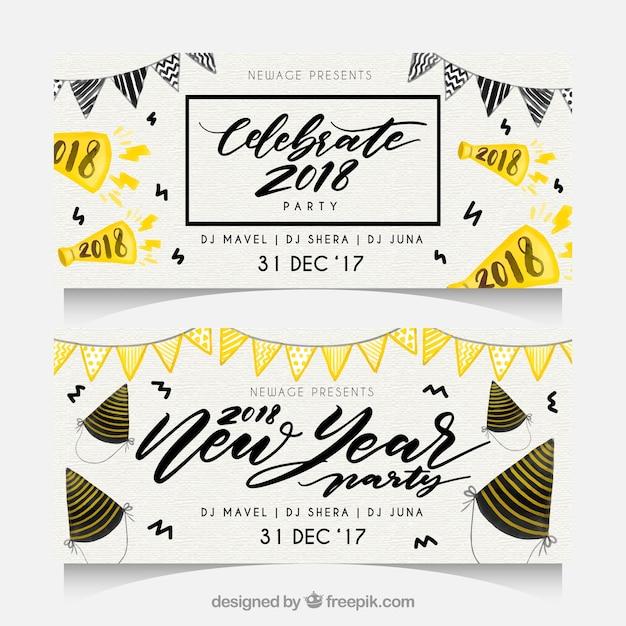 Waterverf het nieuwe jaar 2018 partijbanners met slingers Gratis Vector