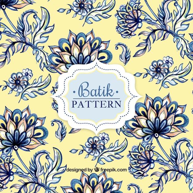 Waterverf het patroon in batik stijl Gratis Vector