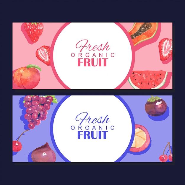 Waterverf het verse biologische fruit banner frame sjabloon Premium Vector