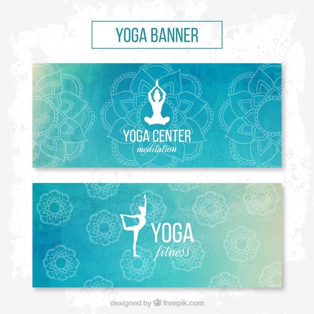 Waterverf het yoga centrum banners in blauwe kleur Gratis Vector