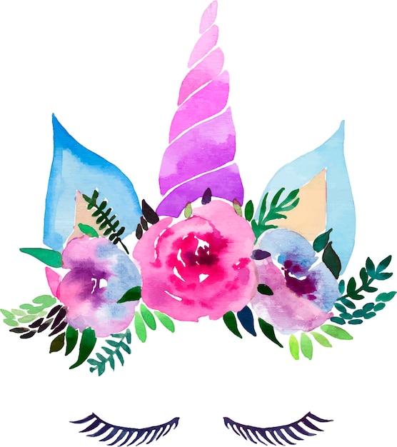 Waterverf mooie magische kleurrijke eenhoorn met wimpers in de bloemen tedere kroon Premium Vector