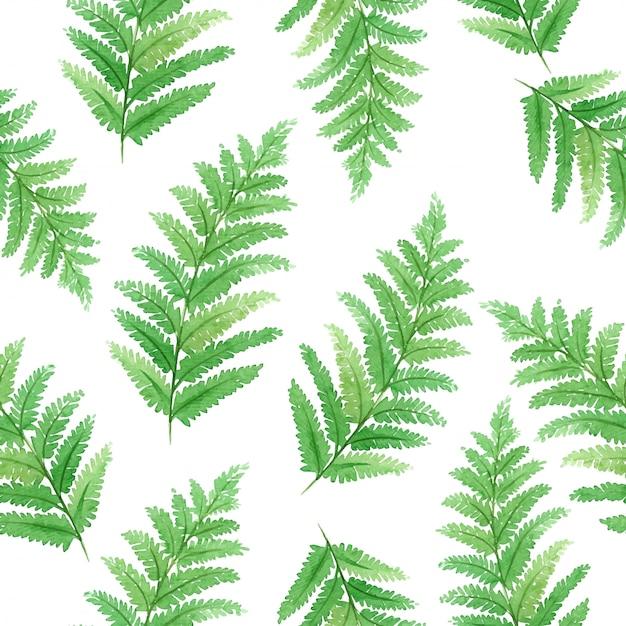 Waterverf naadloos patroon met mooie tropische exotische bladeren Premium Vector