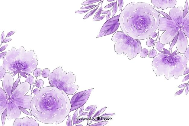Waterverf natuurlijke achtergrond met bloemen Gratis Vector