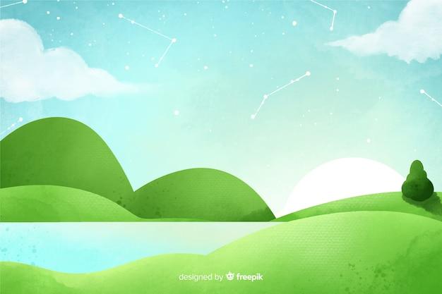 Waterverf natuurlijke achtergrond met landschap Gratis Vector