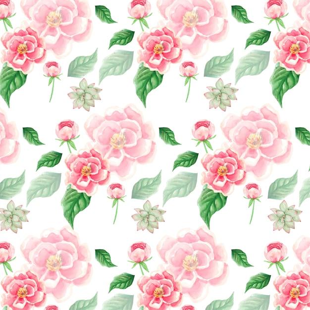 Waterverf roze bloemen en bladerenpatroon als achtergrond Premium Vector