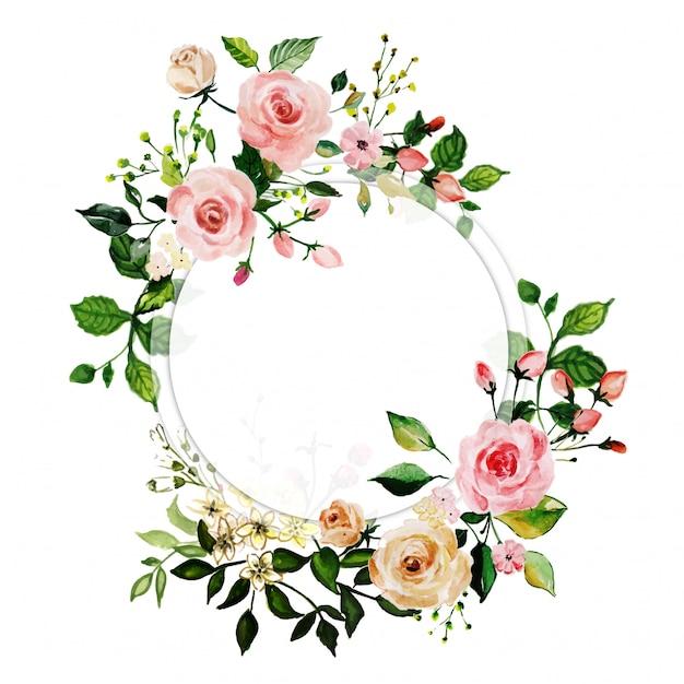 Waterverf roze roos bloemenlijst Premium Vector