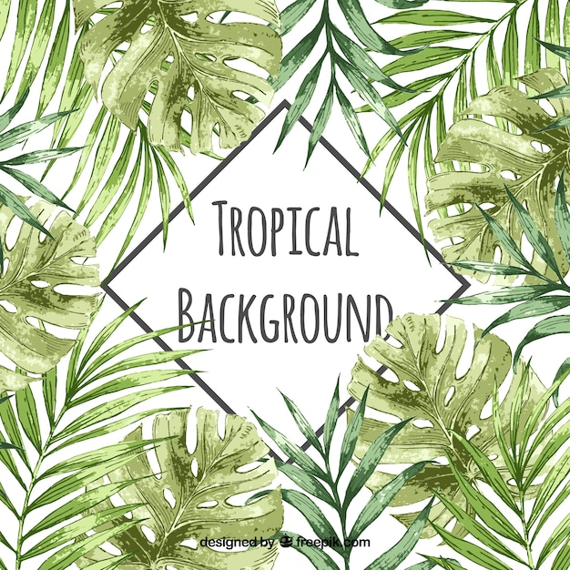 Waterverf tropische achtergrond met uitstekende stijl Gratis Vector