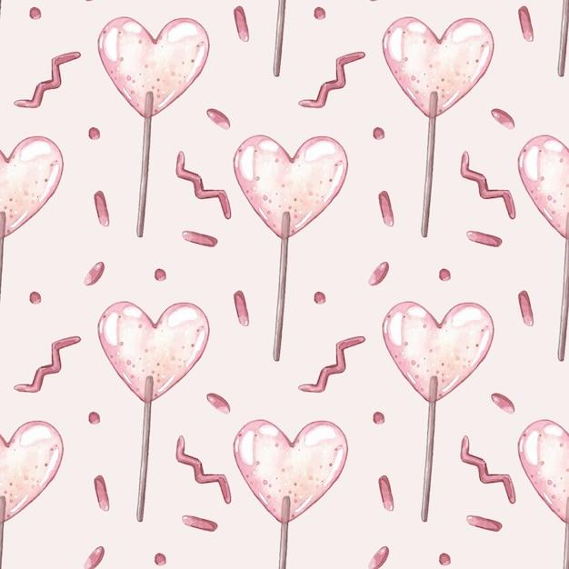 Waterverf vector naadloos patroon met roze lollys. Premium Vector