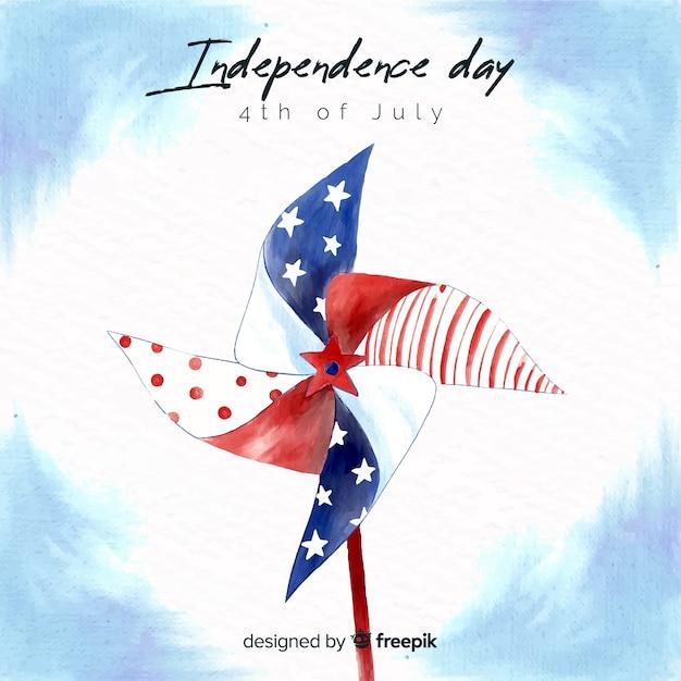 Waterverf vierde van juli - onafhankelijkheidsdagachtergrond Gratis Vector