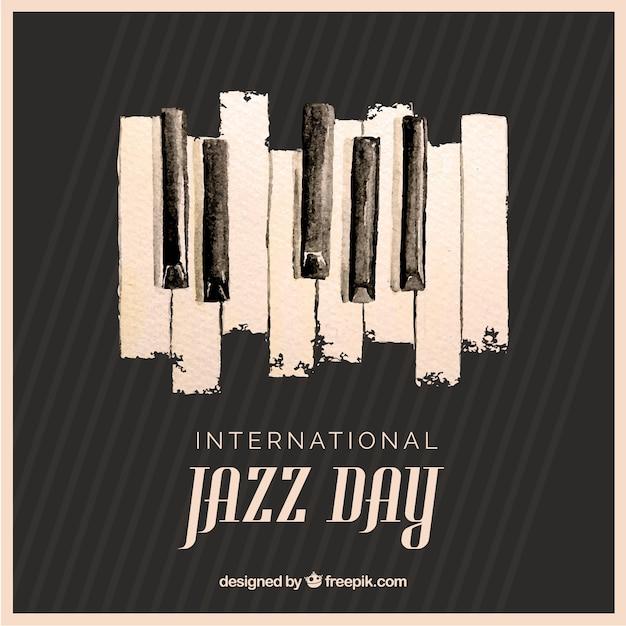 Waterverfachtergrond voor internationale jazzdag Gratis Vector